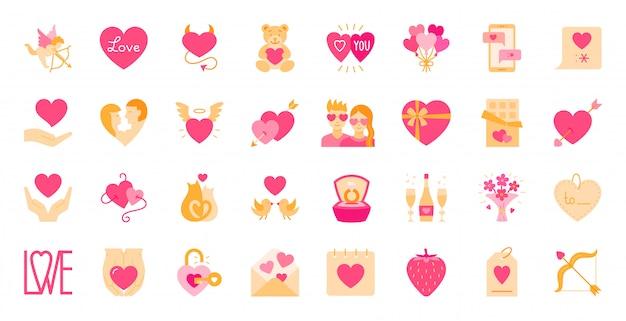 Valentinstag flache cartoon-icon-set Premium Vektoren
