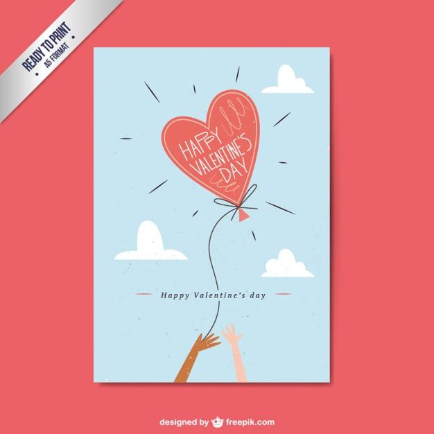 Valentinstag Flache Karte Mit Herz Luftballon Kostenlose Vektoren