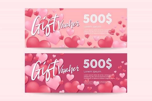 Valentinstag geschenk gutschein vorlage. Premium Vektoren