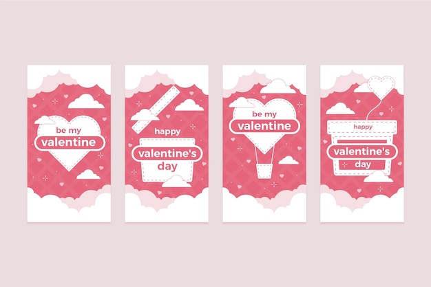 Valentinstag geschichte festgelegt Kostenlosen Vektoren