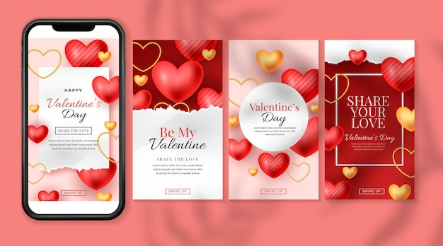 Valentinstag geschichte gesetzt Kostenlosen Vektoren