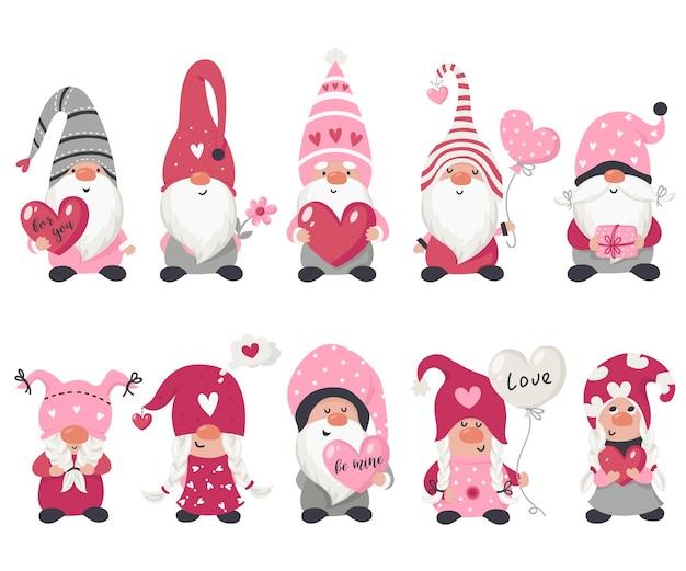 Valentinstag gnomensammlung. illustration für grußkarten, weihnachtseinladungen und t-shirts Premium Vektoren