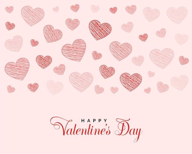 Valentinstag-grußentwurf mit gekritzelherzen Kostenlosen Vektoren