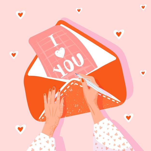 Valentinstag-grußkarte. mädchen schreibt einen liebesbrief. abbildung mit den frauenhänden, -umschlag und -zeichen. vektor-illustration Premium Vektoren