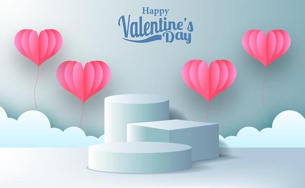 Valentinstag grußkarte marketing promotion banner mit leerem bühnenpodest produktanzeige mit rosa herd illustration papierschnitt stil und blau pastell hintergrund Premium Vektoren