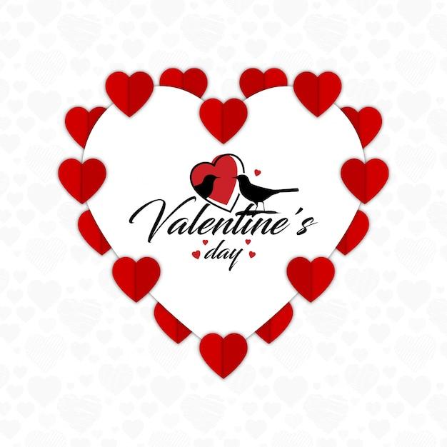 Valentinstag Grußkarte Mit Weißem Hintergrund Kostenlose Vektoren