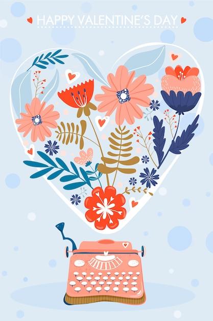 Valentinstag grußkarte. schreibmaschine mit blumen in form eines herzens. Premium Vektoren