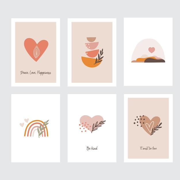Valentinstag grußkarten-sammlung Premium Vektoren