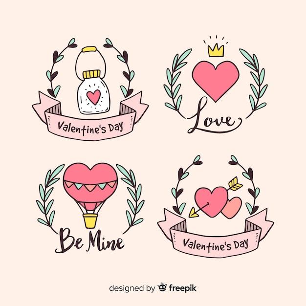 Valentinstag handgezeichnete abzeichen sammlung Kostenlosen Vektoren