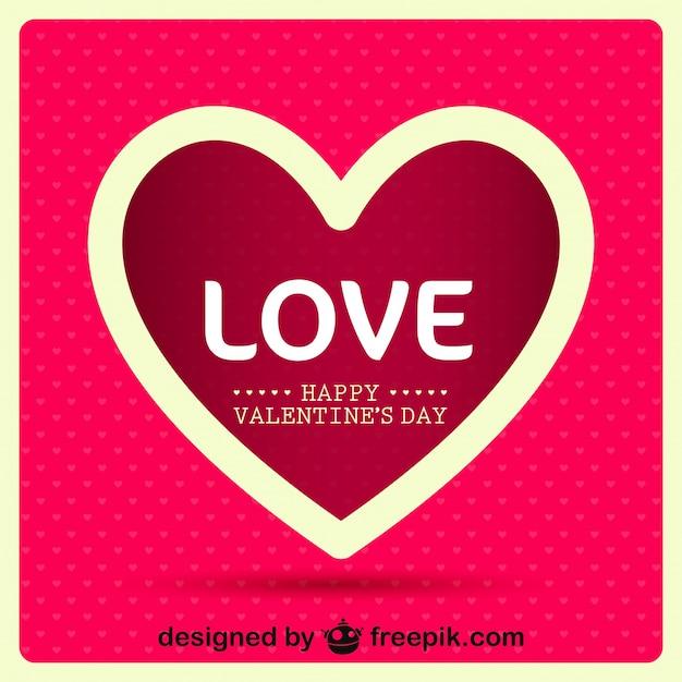 Valentinstag Herz Nachricht Retro Karte Design Kostenlose Vektoren