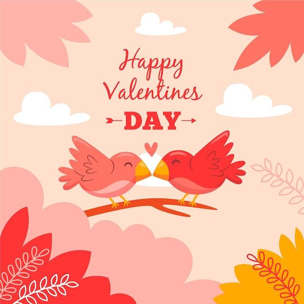 Valentinstag hintergrund im flachen design Premium Vektoren