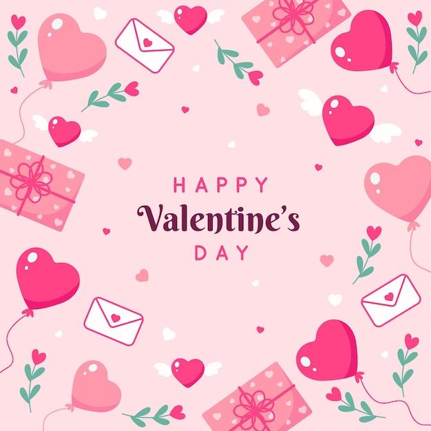 Valentinstag hintergrund im flachen design Kostenlosen Vektoren
