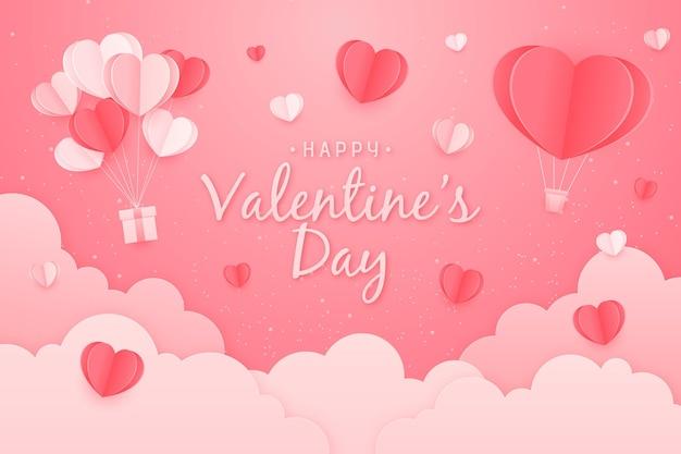 Valentinstag hintergrund im papierstil Kostenlosen Vektoren