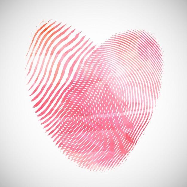 Valentinstag hintergrund mit aquarell herz form von fingerabdrücken Kostenlosen Vektoren