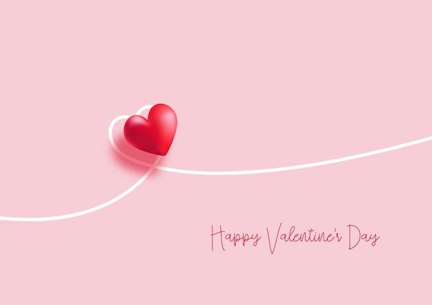 Valentinstag hintergrund mit einem minimalen herz design Kostenlosen Vektoren