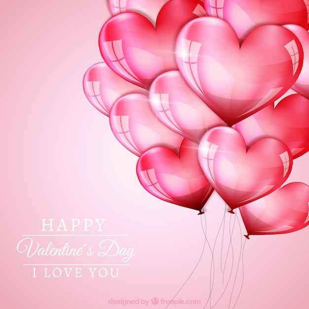 Valentinstag Hintergrund Mit Herz Luftballons Premium Vektoren