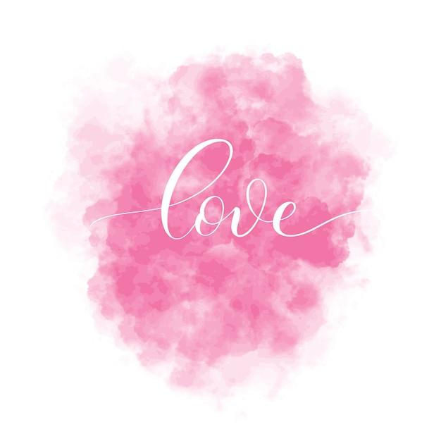 Valentinstag hintergrund mit rosa aquarell fleck und schriftzug inschrift liebe. abbildung der innenkarte. Premium Vektoren
