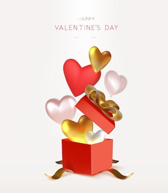 Valentinstag hintergrunddesign mit offener roter geschenkbox und herzvektorillustration Premium Vektoren