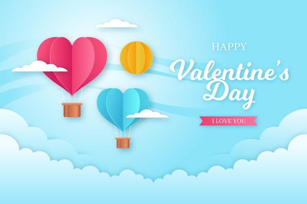 Valentinstag-hintergrundkonzept in der papierart Premium Vektoren