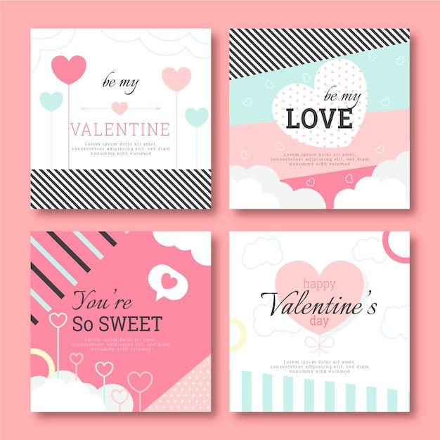 Valentinstag instagram post set Kostenlosen Vektoren