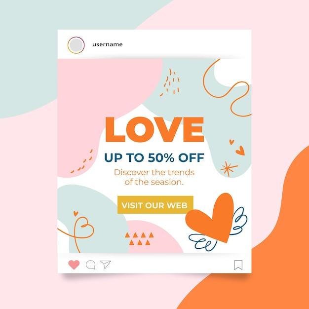 Valentinstag instagram post vorlage Kostenlosen Vektoren