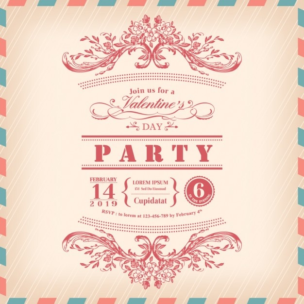 Valentinstag Karte Party Einladung Mit Vintage Rahmen Und Luftpost
