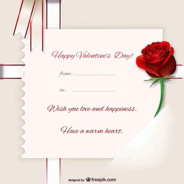 Schön Valentinstag Karte Vorlage Kostenlose Vektoren