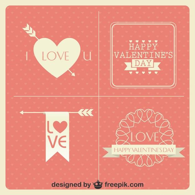 Valentinstag Karten Vintage Minimalistischen Design Kollektion Kostenlose  Vektoren