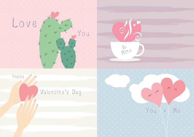 Valentinstag-kartendesign-liebeskonzept Premium Vektoren