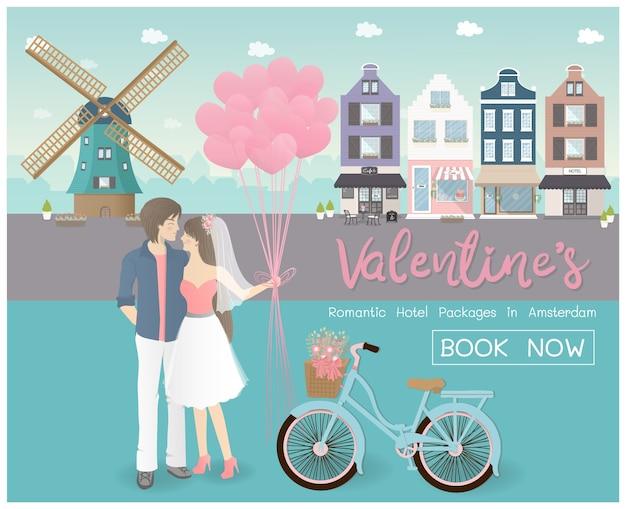 Valentinstag-konzept für die reise Premium Vektoren