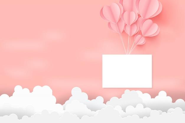 Valentinstag-konzept mit herz ballons schweben in den himmel. Premium Vektoren