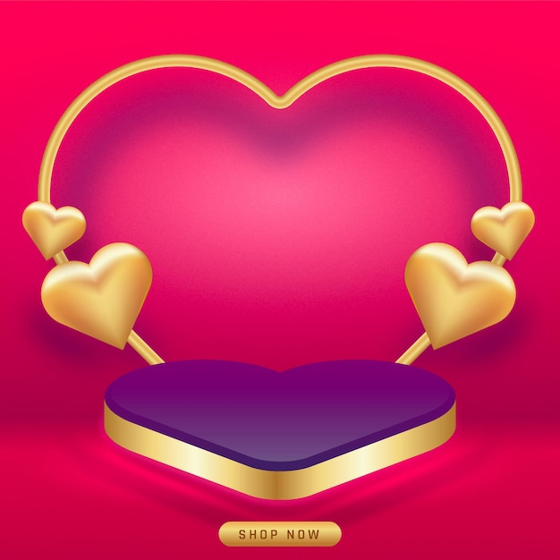 Valentinstag. leere podien, podeste oder plattformen. Premium Vektoren