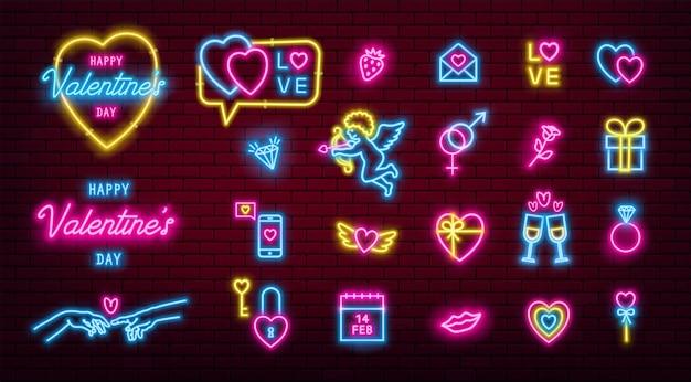 Valentinstag leuchtende neonikonen packen. Premium Vektoren