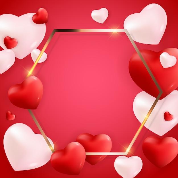 Valentinstag liebe und gefühle hintergrunddesign. Premium Vektoren