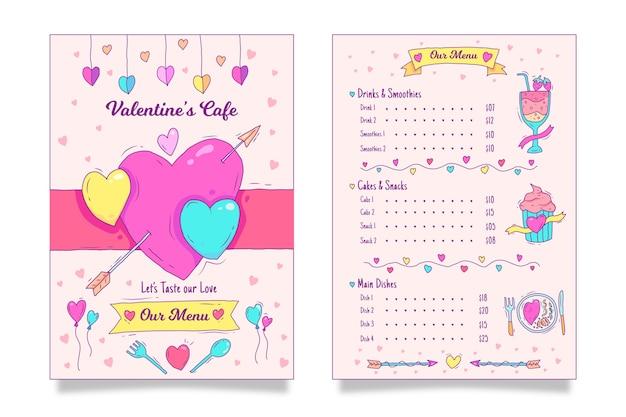 Valentinstag-menüvorlage mit herzen Kostenlosen Vektoren