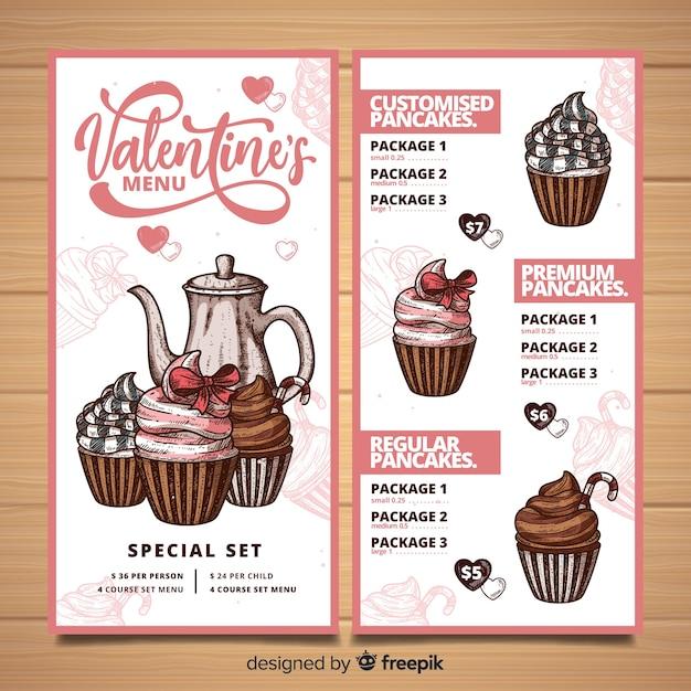 Valentinstag-menüvorlage Kostenlosen Vektoren