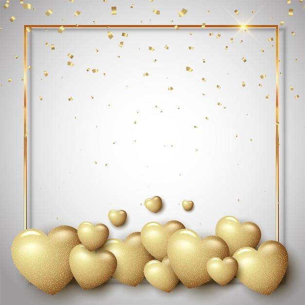 Valentinstag mit goldenen herzen und bordüre Kostenlosen Vektoren