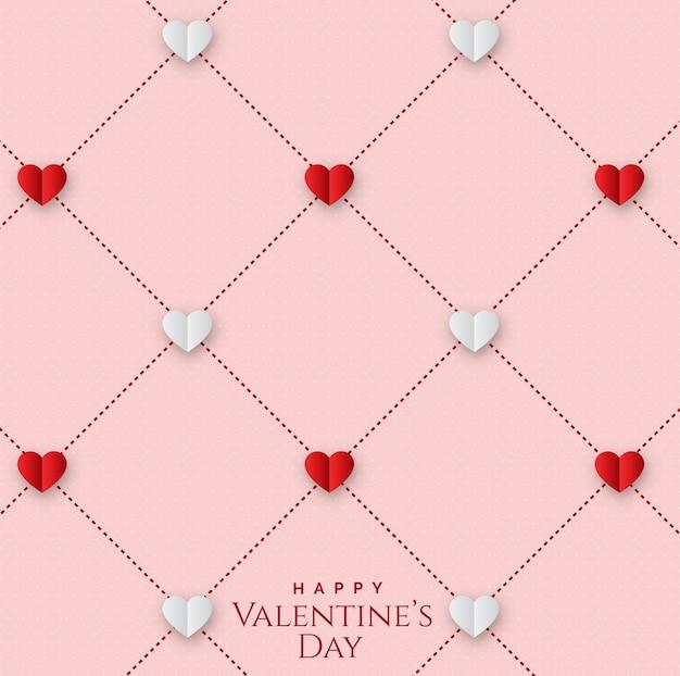 Valentinstag mit nahtlosem geometrischem muster mit herzen Premium Vektoren