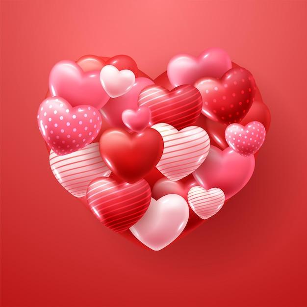 Valentinstag mit roten und rosa herzen Kostenlosen Vektoren