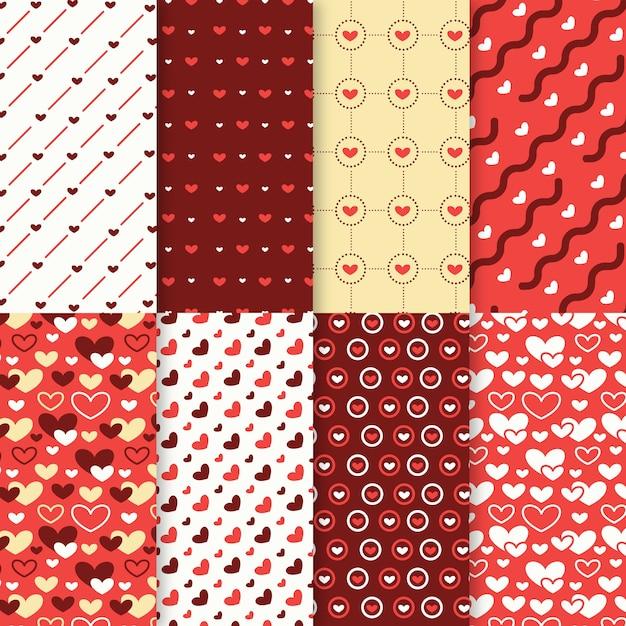 Valentinstag-mustersammlung im flachen design Kostenlosen Vektoren