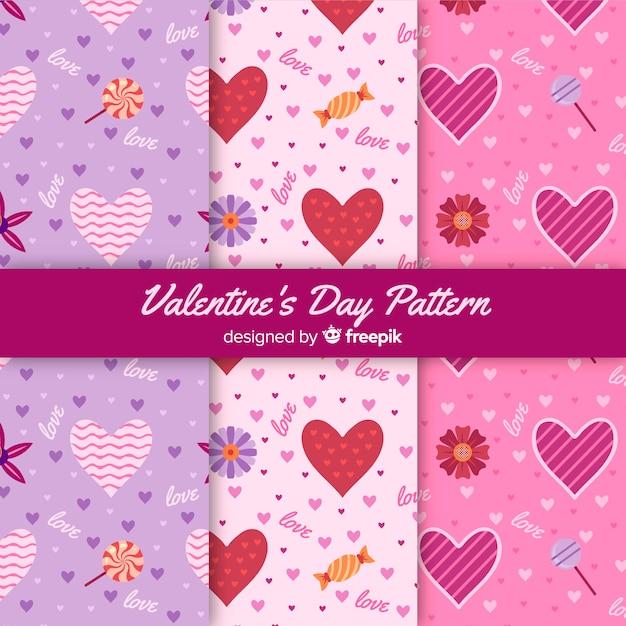 Valentinstag-mustersammlung Kostenlosen Vektoren