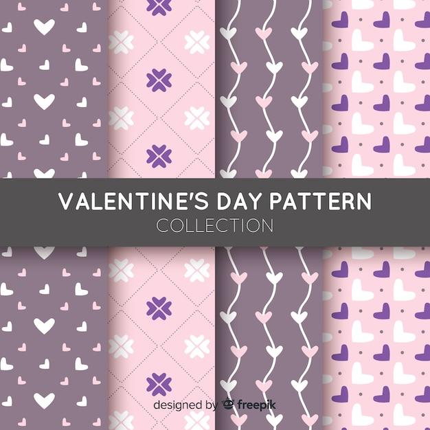 Valentinstag-Mustersammlung Kostenlose Vektoren