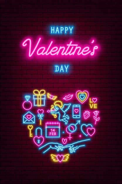 Valentinstag neon baner, flyer, poster, grußkarte. valentinstag leuchtreklamen auf backsteinmauer hintergrund. vektorillustration Premium Vektoren