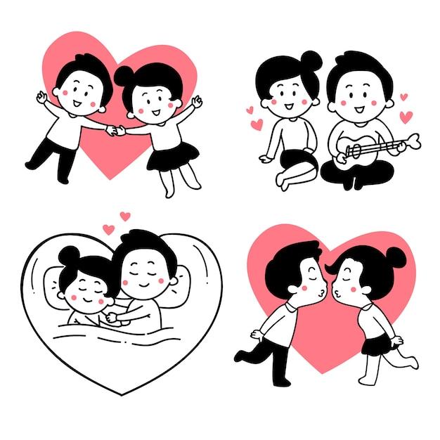 Valentinstag-paar-auflistung Kostenlosen Vektoren