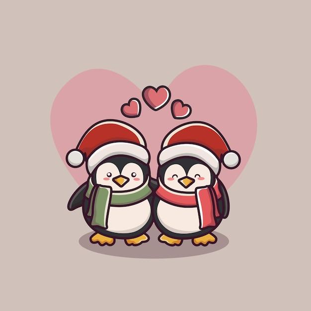 Valentinstag paar liebespinguin Premium Vektoren
