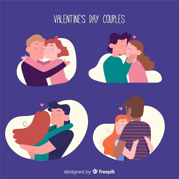 Valentinstag-paar-sammlung Kostenlosen Vektoren