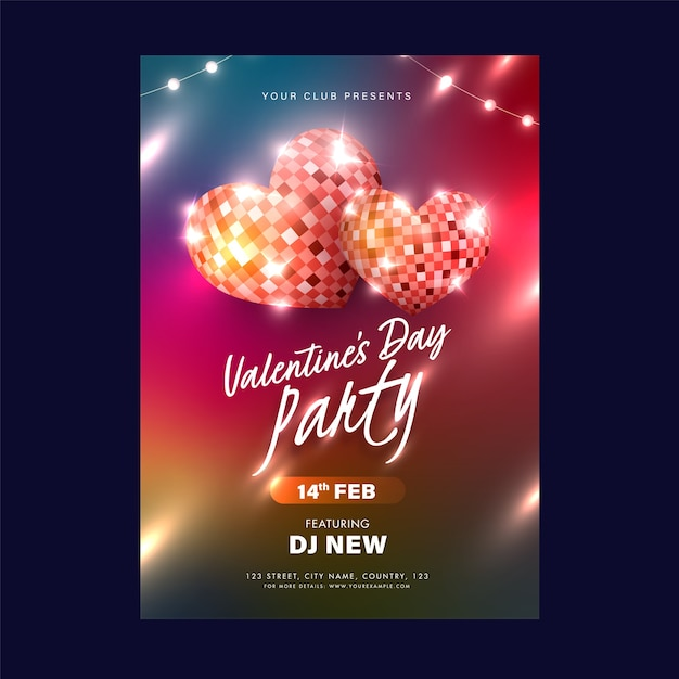 Valentinstag party einladungskarte, flyer design mit 3d herzform disco bälle Premium Vektoren