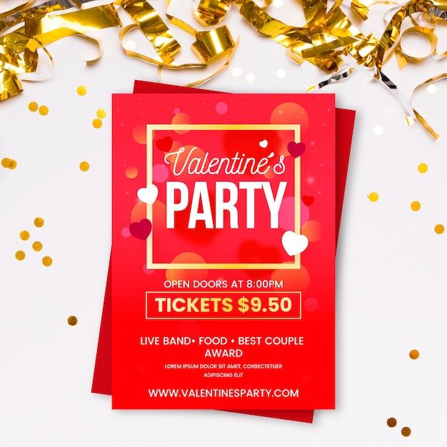Valentinstag party flache flyer vorlage Kostenlosen Vektoren