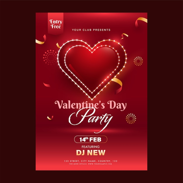 Valentinstag party flyer design mit event details in roter farbe Premium Vektoren