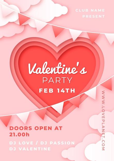 Valentinstag party flyer im papierstil Kostenlosen Vektoren